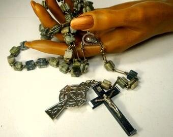 Large Celtic Irish Stone ROSARY, Chunky Green Jasper Beads, Christian Monk Prayer Beads, Long, 2 Crucifixes, Mary Medallion, Unusual 1970s