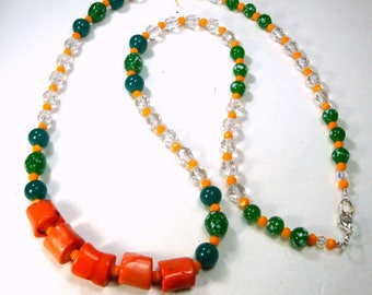 Long Peach Coral and Green Glass Necklace, Recycled Ecochic Green Speckled Glass Beads, Clear Faceted Glass Beads, OOAK by Rachelle Starr