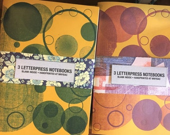 Set of Three Hand-bound Notebooks with Letterpress Printed Covers!