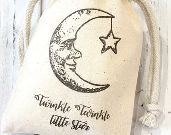 Twinkle Twinkle Baby Shower Favor Bags 4x6  -  Set of 10 - Muslin drawstring bags