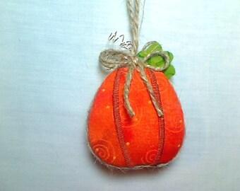Miniature Pumpkin Ornament | Party Favor | Holidays | Rustic Country | Autumn Fall | Primitive Folk Art | Tree Ornament | Thanksgiving | #2