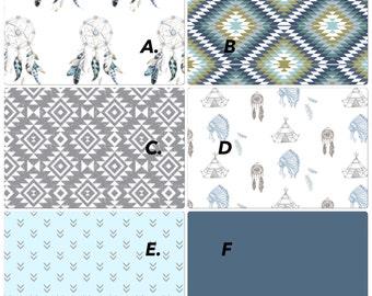 Baby Boy Crib Bedding Set Modern Tribal Aztec Feathers Dreamcatcher Blue Gray and White