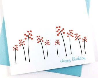 Spring Birthday Card, Floral Card for Mom, Greeting Card for Her, Spring Flowers, Floral Stationery, Celebration Card, Flower Card