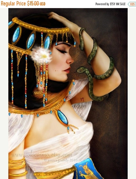 BIRTHDAY SALE Cleopatra and the Serpent  8x10 or 8.5x11 or 11x17 Medium Sized Giclee Premium Fine Art Print