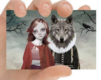 Fairytale ACEO Card - Red Riding Hood - ACEO Art Card - Fairy Tale Art - Girl And Wolf - Red