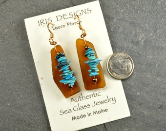Land and sea   a pair of genuine Maine chocolate brown sea/beach glass earrings with sleeping beauty  turquoise trails