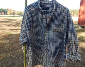 Distressed plaid Eddie Bauer shirt - recycled bleached dipped splattered - vintage worn style - Size XXL (men's / unisex) (S30)