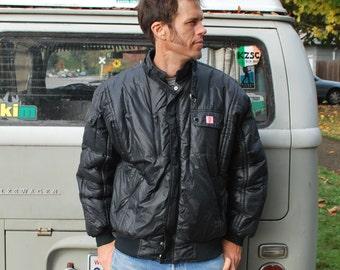 Vintage Men's Black Nylon Jacket 80's puffer jacket