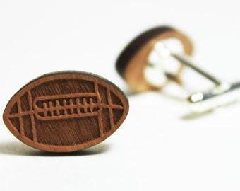 Football Cufflinks ~ Super Bowl Cherry Wood Sports NFL Gift Groom Wedding Accessories Birthday Fathers Day
