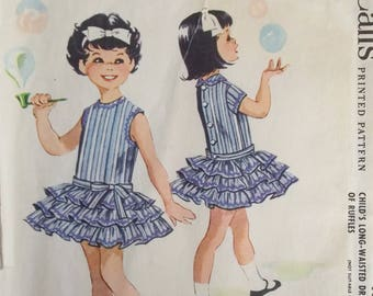 Vintage Girl's Ruffled Dress McCall's 4783 Sewing Pattern, Formal Party or Special Occasion Dress, Tiered Skirt Dress with Bow, Size 2 CUT