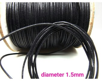 new / STR015MM-F4 / 6meter *6.5yd *19feet - 1.5mm Solid Black Braided *Lightly Waxed Cotton Cords / Strings.