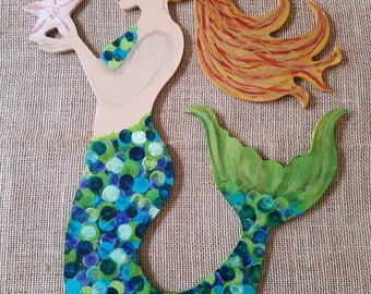 Wooden Mermaid Wall Hanging mermaid wall hanging with shell bra wood cut out 24