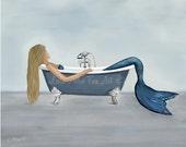 "Mermaid Art Print Mermaid Painting Mermaid Bathroom Decor Beach Art Ocean Mermaid Decor  ""FANCY TUB RETREAT"" Leslie Allen Fine Art"
