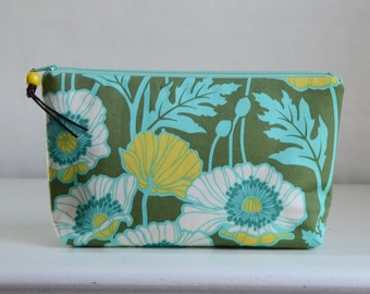Poppies in Basil  Wide Padded Zipper Pouch Gadget Case Cosmetics Bag - READY TO SHIP