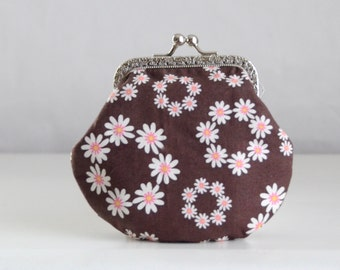 Chocolate Circle Daisies Large Coin Purse Change Pouch with Metal Kiss Clasp Lock Frame - READY TO SHIP