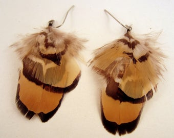 Native Style Feather Earrings Reeves Pheasant natural