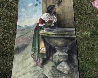Antique Hand Painted Tapestry, Rebecca at the Well, Oil Painting on Canvas