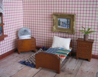 Vintage KAGE Miniature Dollhouse Furniture - 3 Piece Bedroom Set - 3/4 Scale