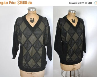 SALE 50% OFF Leather Knit Sweater / S-L