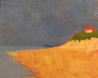 """Solo - Original Acrylic Oil Encaustic Landscape Painting - 10""""x 10"""""""
