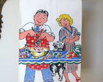 Vintage Kitchen Dish Towel P & S Creations 1950s Life Can Be Beautiful Series Cartoon Print Man Wife Dog
