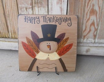 Primitive Autumn Thanksgiving Turkey Hand Painted Wooden Sign GCC6461