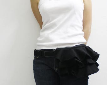 Ruffled Waist Pouch in Black, Fanny Pack, Travel Pouch, Hip Bag, Zipper Pouch, Bridesmaid Gift, Gift  for Women - RWP - SALE 30% OFF