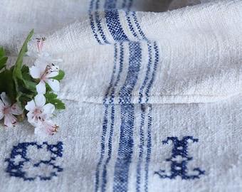 E 228: antique handloomed FADED ROYAL BLUE ; monogramm, grainsack pillow cushion runner 47.24long wedding, french lin,spring, vintage