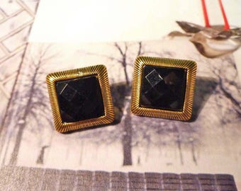 SALE - Black Square Stud Earrings