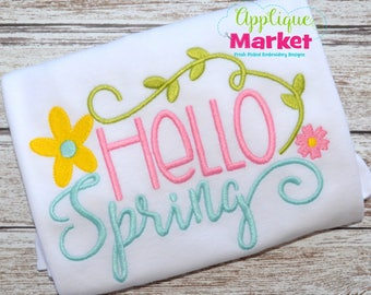 Machine Embroidery Design Embroidery Hello Spring INSTANT DOWNLOAD