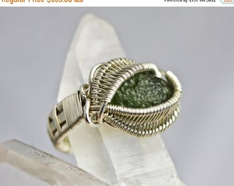 10% OFF HOLIDAY SALE Moldavite Ring - Wire Wrapped Talisman Amulet - Unique Original Design by Philip Crow