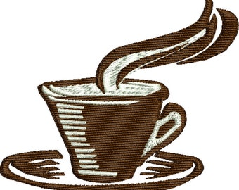 Cup of Coffee machine embroidery design