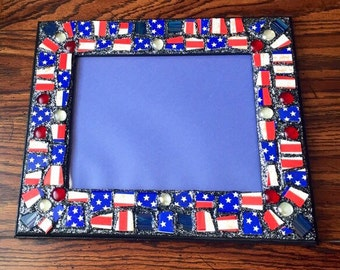 RESERVED - Stars and Stripes Silver Sparkle Mosaic Picture Frame (holds a 8 x 10 photograph)
