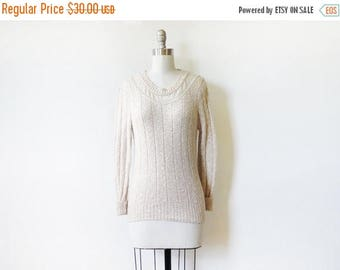 50% OFF SALE pointelle lace sweater, vintage 80s oatmeal cream lace sweater, extra small pullover sweater