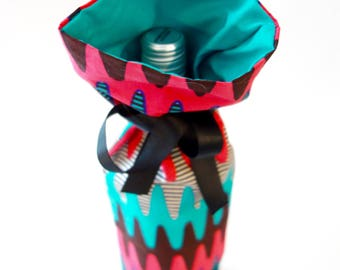 Wine Gift Tote.  Made from Real African Wax Fabric.  Hostess Gifts.