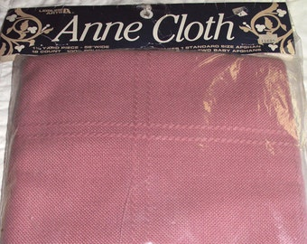 "Anne Cloth by Leisure Arts 45"" x 58"" Afghan Fabric 18 Count Dusty Rose"