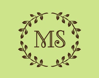 Wedding Stamp   Custom Wedding Stamp   Custom Rubber Stamp   Custom Stamp   Personalized Stamp   Monogram Wreath Stamp   Wreath Stamp   C240