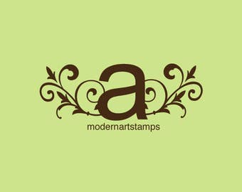 Custom Stamp   Custom Rubber Stamp   Monogram Stamp   Wedding Stamp   Personalized Stamp   Monogram with Vines Stamp   C85