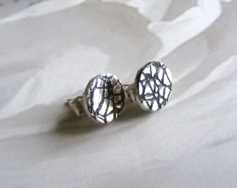 Fine Silver Crackle Pattern Studs