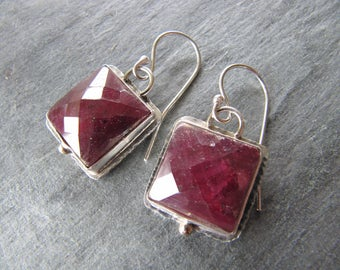 Faceted Ruby Earrings in Sterling Silver with 18K Gold