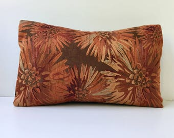 Decorative Lumbar Pillow Cover / 13x20 / Rust, Burgundy, Brown, Russet tones