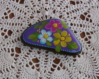 Hand Painted Idaho Rock-Acrylic Original, Paper Weight, Shelf Sitter, Garden Decor, Daisy, yellow, pink,teal,lavender, turquoise,gift
