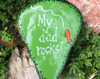 Hand Painted Idaho Rock-Acrylic Original-Father's Day-Masculine Gift-Birthday-Fishing, Fish, Gold fish, Paper Weight, Desk decor, green