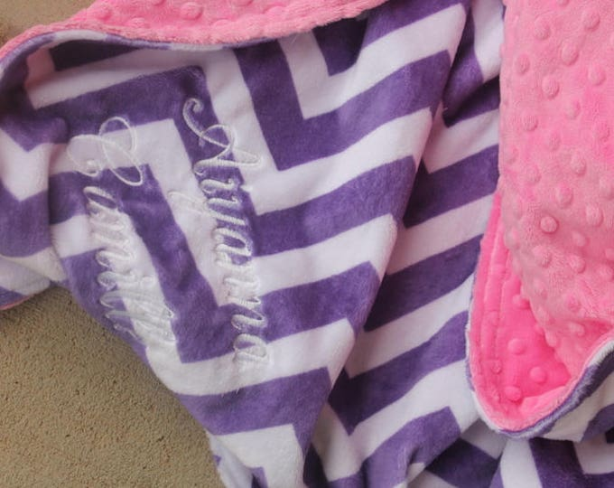 Personalized, Embroidered, Minky, Chevron, Crib, Nursing, Baby, Cuddle, Soft and Comfy 36x40 Baby/Toddler Blanket, Jewel Chevron, Hot Pink