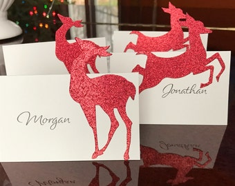 Christmas Place Cards Reindeer Place Setting Cards for Elegant Dinner Table by Lime Green Rhinestones