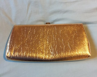Gold Lame Evening Bag, Vintage 1960s Gold Metallic Purse, Gold Clutch, Vintage Purse in Excellent Condition on SALE