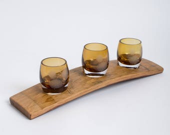 Wine Barrel Votive Set with Etched Gold Aspen Glass