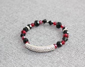 bracelet, cristal, cristaux, petit diamant, strass, rouge, noir, chic, st valentin, bracelet pour femme, bracelet elastique, moderne, fancy
