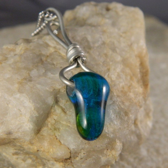 Blue Green Lampwork Wire Wrapped Necklace