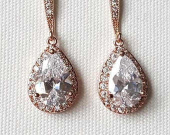 Rose Gold Bridal Earrings, CZ Wedding Earrings, Gold Bridal Earrings, Silver Wedding Earrings